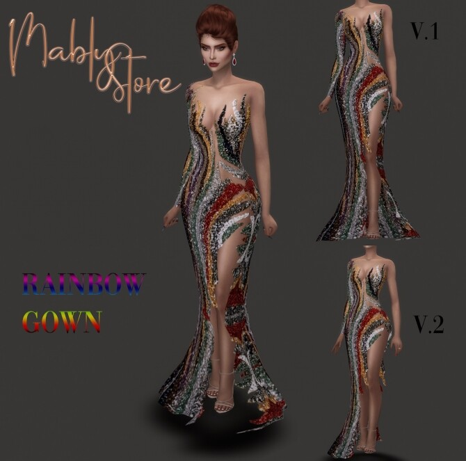 Sims 4 RAINBOW GOWN at Mably Store