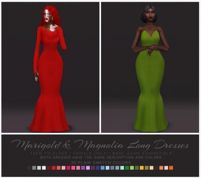 Sims 4 MARIGOLD & MAGNOLIA LONG DRESSES at Candy Sims 4