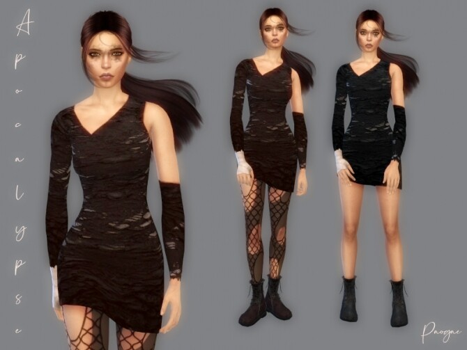 Sims 4 Apocalypse simple short dress by Paogae at TSR
