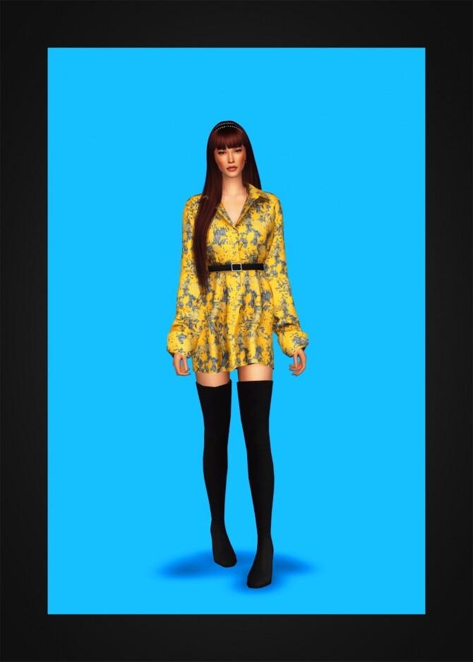 Sims 4 Belted Shirtdress IV at Gorilla