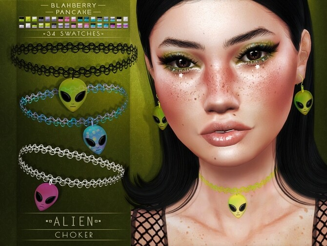 Alien chokers and earrings at Blahberry Pancake image 3331 670x503 Sims 4 Updates