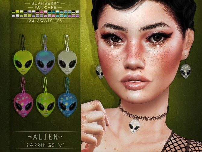Alien chokers and earrings at Blahberry Pancake image 3341 670x503 Sims 4 Updates