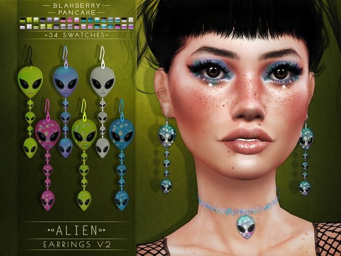 Alien chokers and earrings at Blahberry Pancake image 3351 670x503 Sims 4 Updates