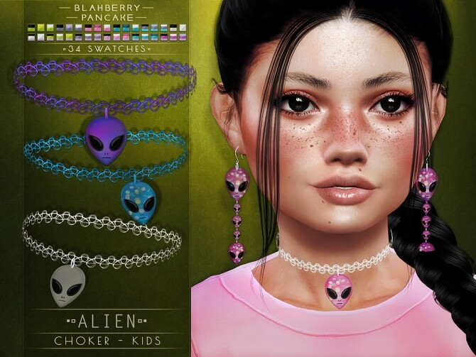 Sims 4 Alien chokers and earrings at Blahberry Pancake