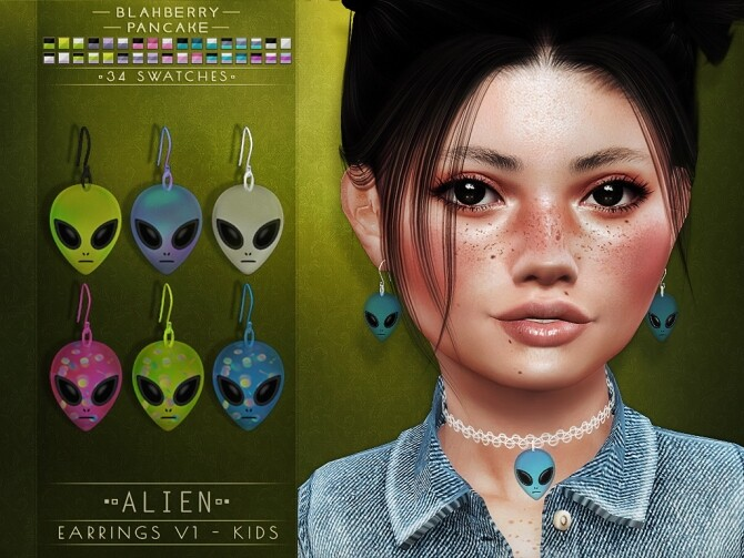 Alien chokers and earrings at Blahberry Pancake image 337 670x503 Sims 4 Updates