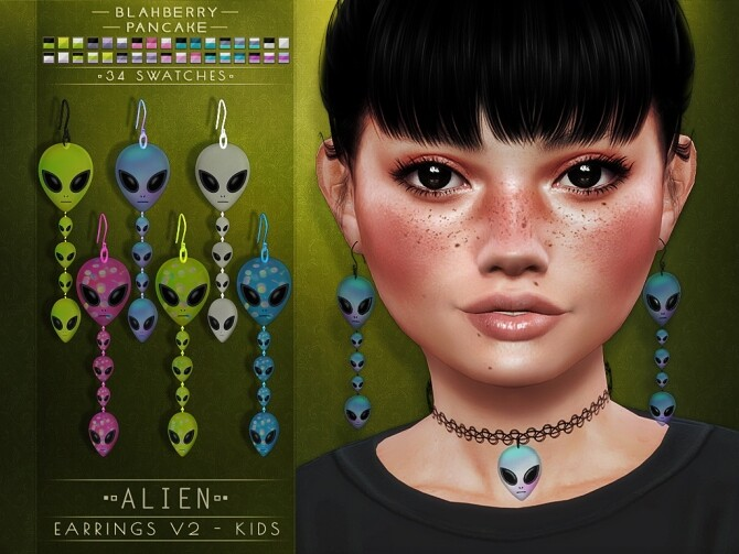 Alien chokers and earrings at Blahberry Pancake image 338 670x503 Sims 4 Updates