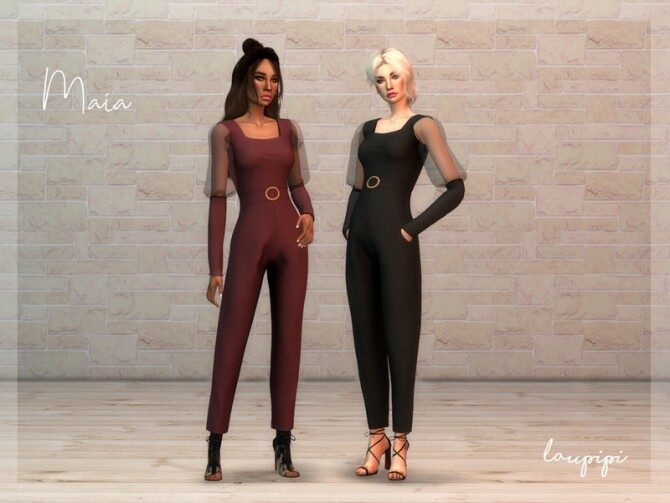 Maia jumpsuit by laupipi at TSR image 3416 670x503 Sims 4 Updates