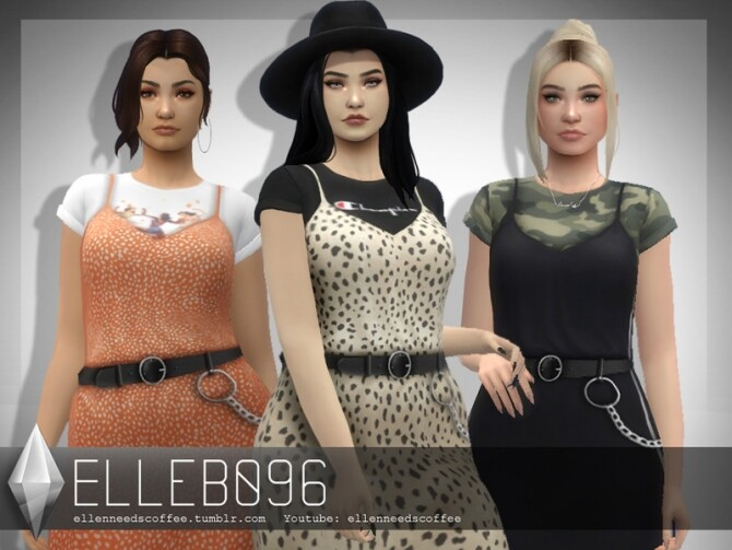 Layered Belt Dress by Elleb096 at TSR image 360 670x503 Sims 4 Updates