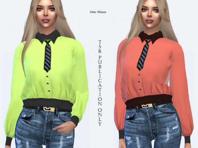 Sims 4 Womens blouse with a tie by Sims House at TSR