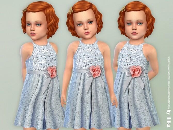 Sims 4 Blue Bow Dress by lillka at TSR