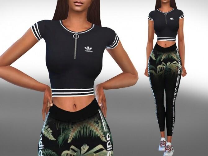 Sims 4 Female Short Sleeve Athletic Black Tops by Saliwa at TSR