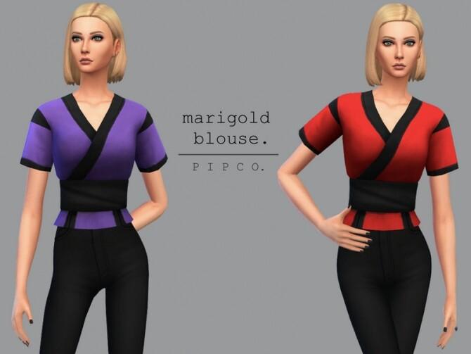 Sims 4 Marigold blouse by Pipco at TSR