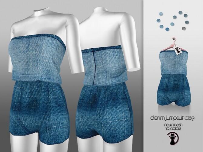 Sims 4 Denim Jumpsuit C159 by turksimmer at TSR