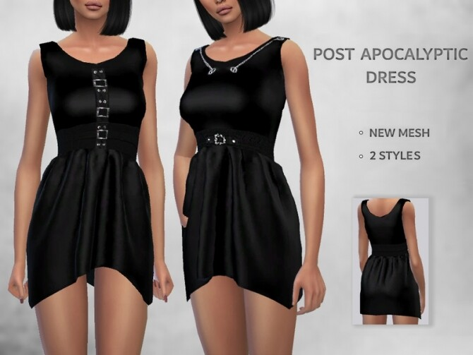 Sims 4 Post Apocalyptic Dress by Puresim at TSR
