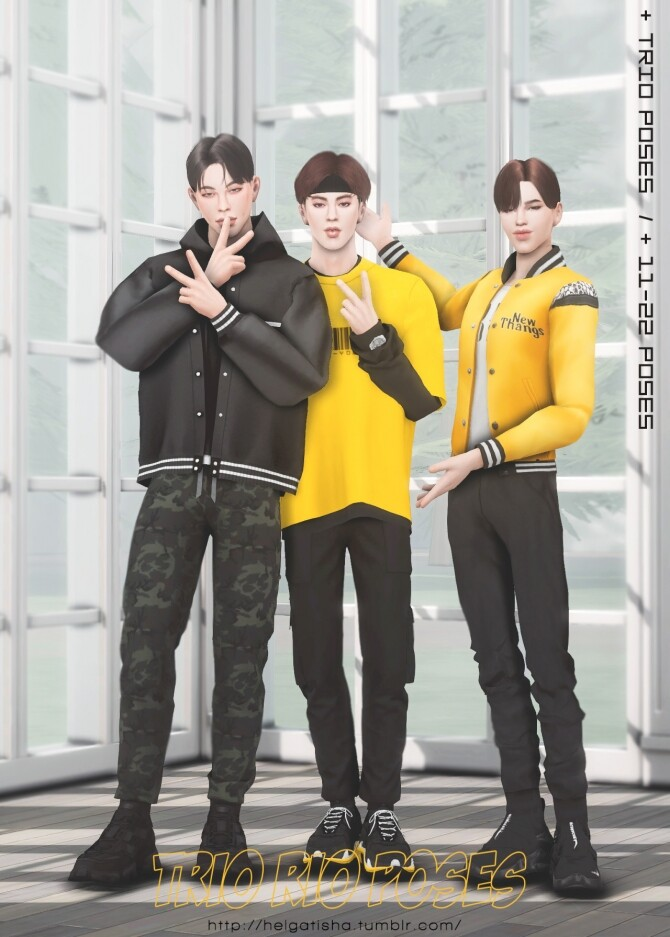 Sims 4 Trio rio poses at Helga Tisha