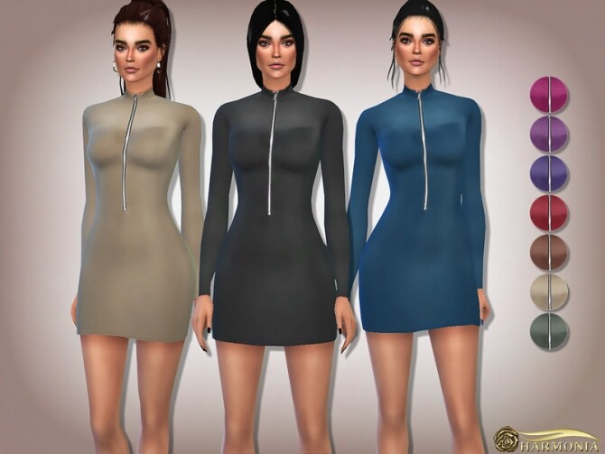 Sims 4 Long Sleeve Zip Front Bodycon Dress by Harmonia at TSR