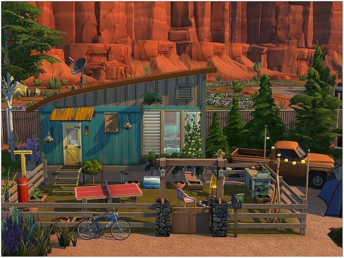 Sims 4 TINY 33 micro house with a front yard by lotsbymanal at TSR