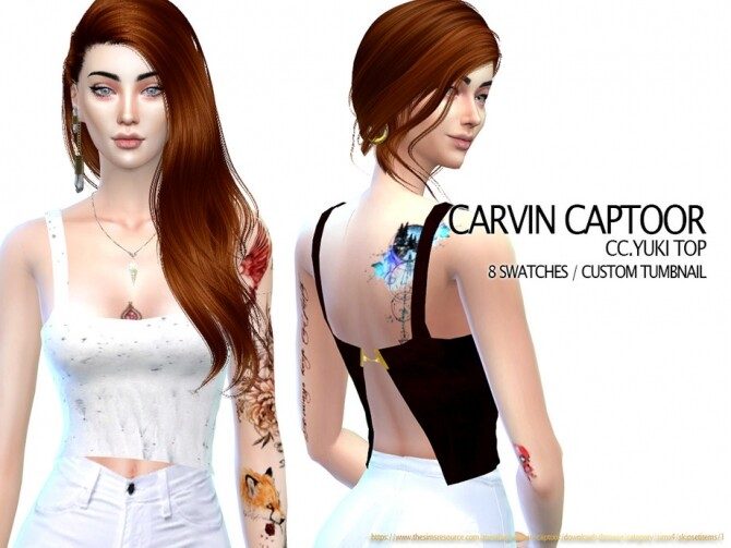 Sims 4 Yuki Top by carvin captoor at TSR