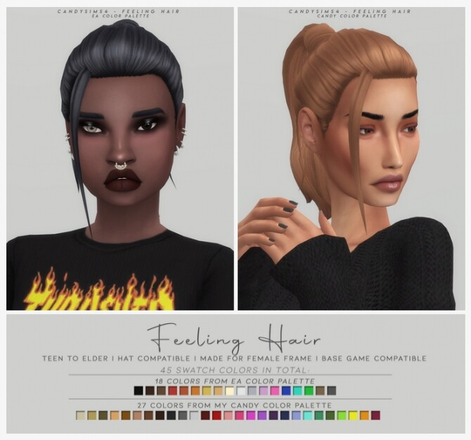 Sims 4 FEELING HAIR   basic messy ponytail f at Candy Sims 4