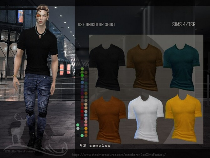 Sims 4 DSF UNICOLOR SHIRT by DanSimsFantasy at TSR
