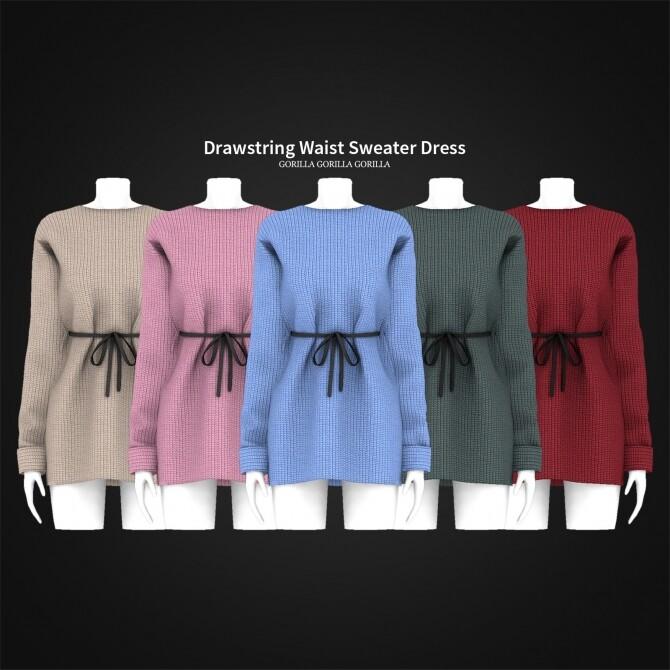 Drawstring Waist Sweater Dress at Gorilla image 5271 670x670 Sims 4 Updates