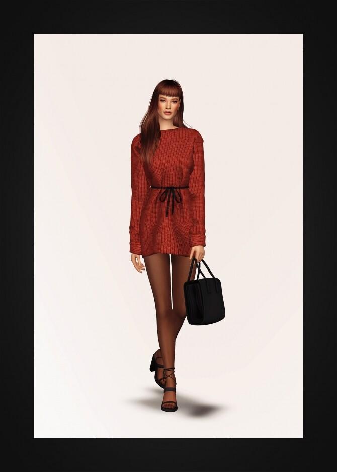 Drawstring Waist Sweater Dress at Gorilla image 5281 670x937 Sims 4 Updates