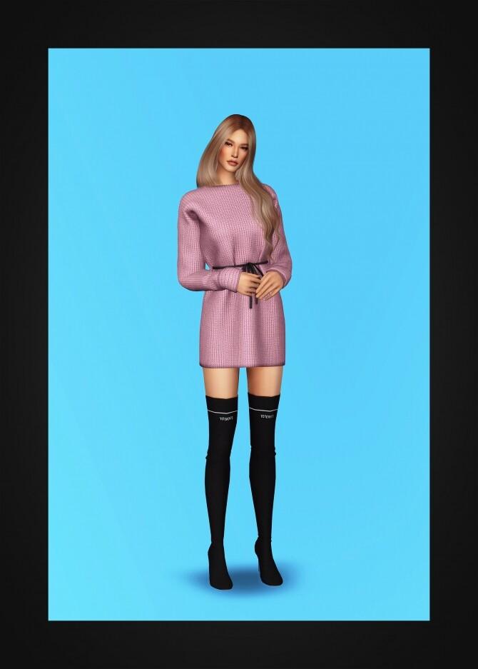 Drawstring Waist Sweater Dress at Gorilla image 5291 670x937 Sims 4 Updates