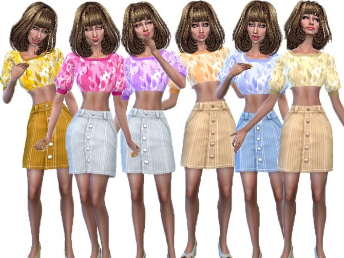 Sims 4 Wide sleeve top recolor by TrudieOpp at TSR