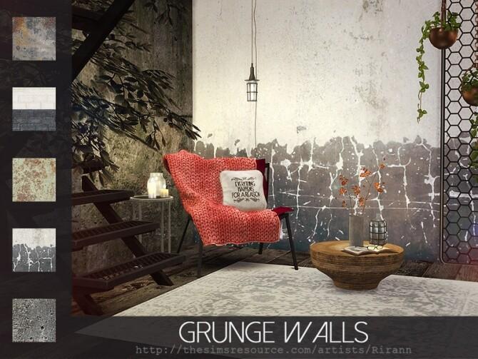 Sims 4 Grunge Walls by Rirann at TSR