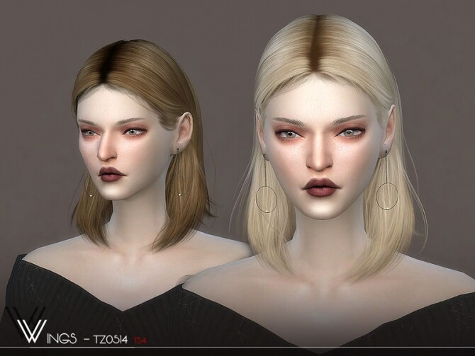 Sims 4 WINGS TZ0514 hair by wingssims at TSR