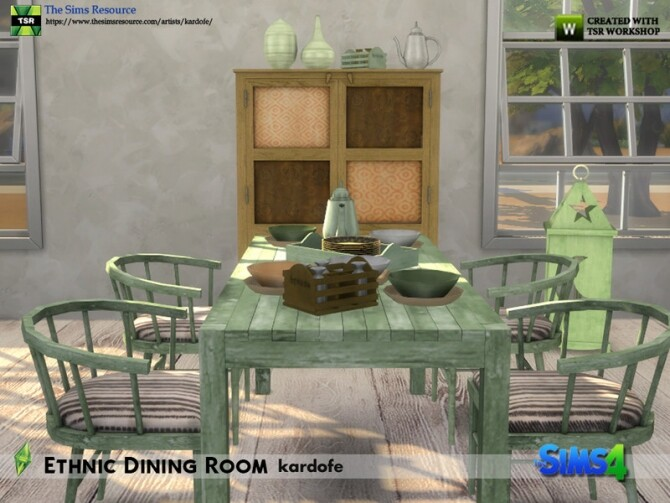 Sims 4 Ethnic Dining Room by kardofe at TSR
