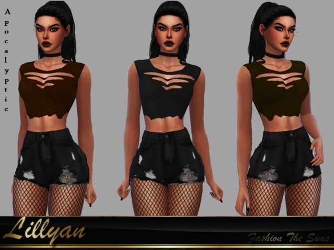 Sims 4 Top Luisa Apocalyptic by LYLLYAN at TSR