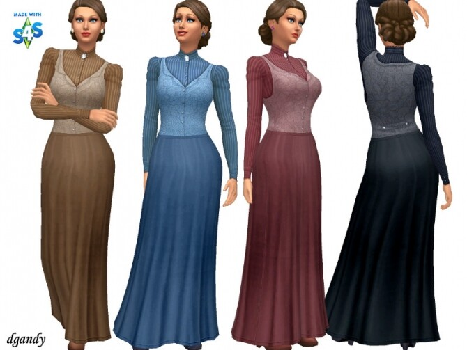 Sims 4 Pioneer top & skirt by dgandy at TSR