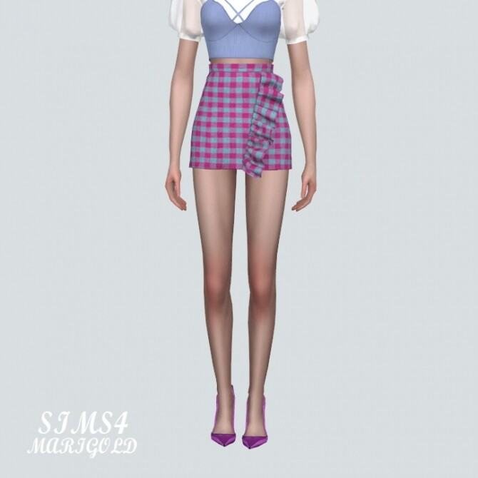 Frill Plaid Mini Skirt at Marigold image 6415 670x670 Sims 4 Updates