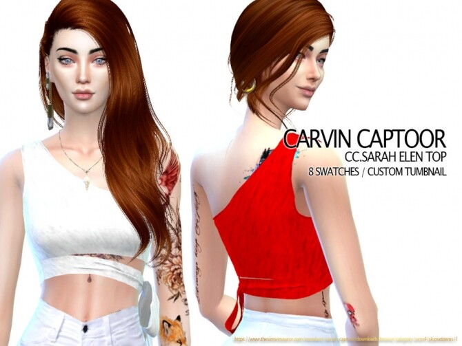 Sims 4 Sarah Elen Top by carvin captoor at TSR