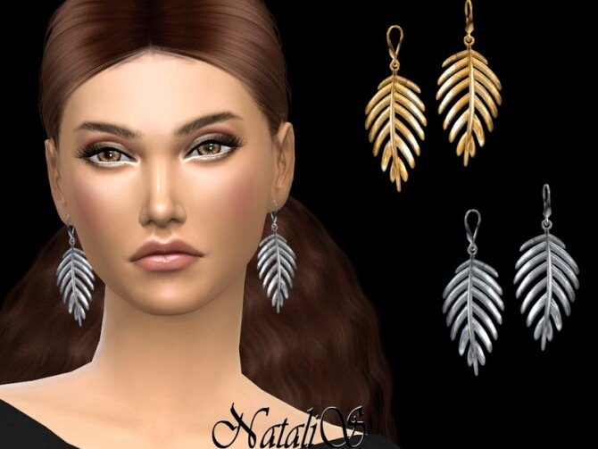 Palm leaf earrings by NataliS at TSR image 7119 670x503 Sims 4 Updates