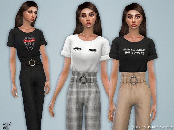 Shirt & Pants Outfit by Black Lily at TSR image 7122 670x503 Sims 4 Updates