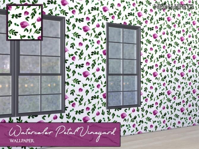 Watercolor Petal Vineyard Wallpaper by neinahpets at TSR image 720 670x503 Sims 4 Updates