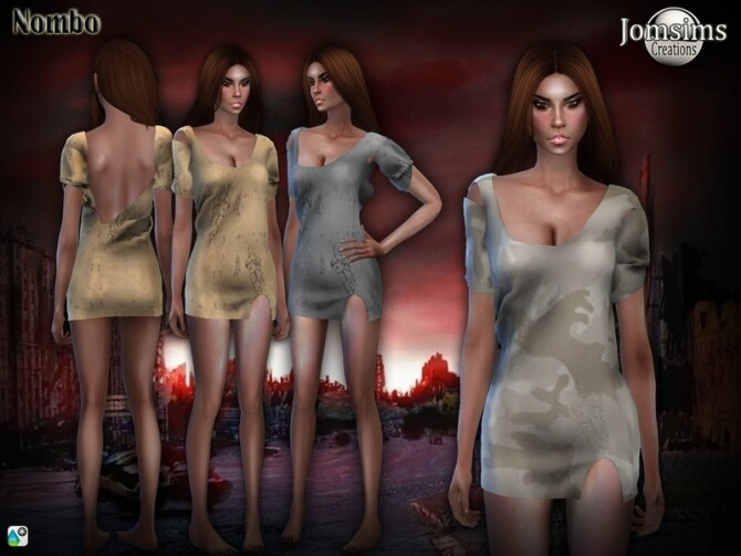 Sims 4 Nombo apocalyptique dress by jomsims at TSR