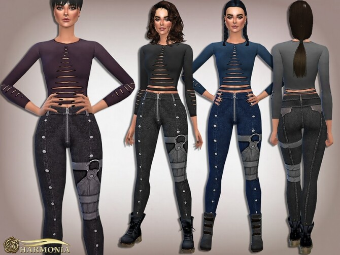 Apocalyptic Torn top with Decorated Straps Pants by Harmonia at TSR image 7911 670x503 Sims 4 Updates