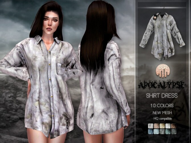 Apocalypse Shirt Dress BD234 by busra tr at TSR image 8112 670x503 Sims 4 Updates