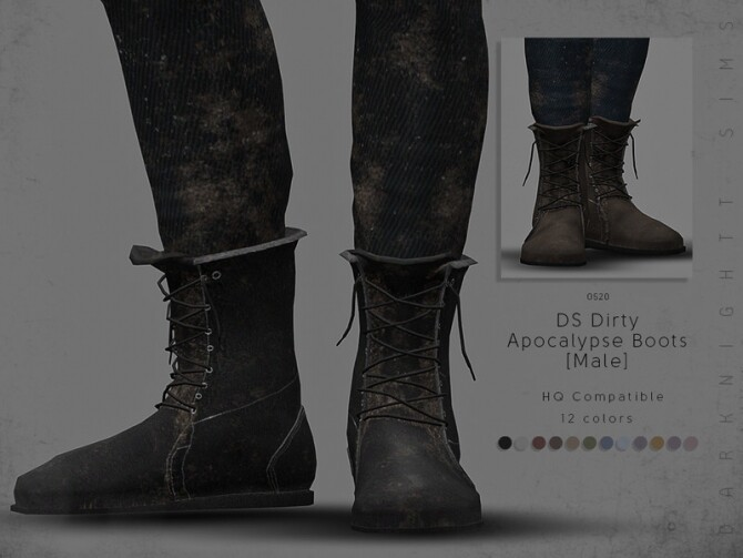 Sims 4 DS Dirty Apocalypse Boots Male by DarkNighTt at TSR