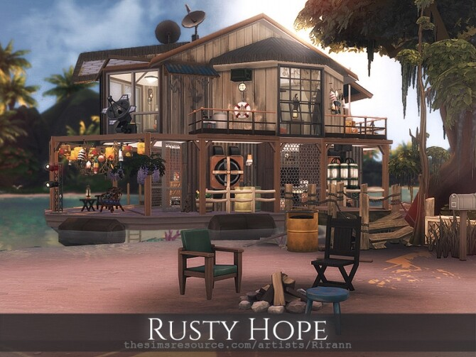 Sims 4 Rusty Hope post apocalyptic boat house by Rirann at TSR
