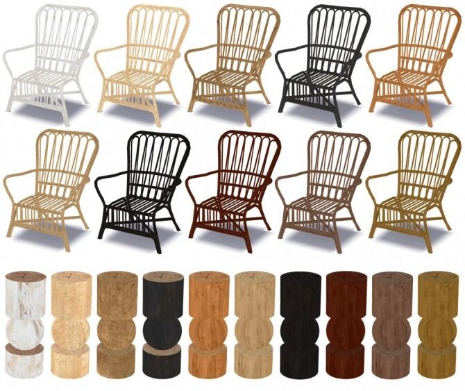 Sims 4 Storsele chair, Nomad table & Alisha lamp recolors at Riekus13