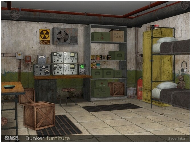 Sims 4 Bunker furniture by Severinka at TSR