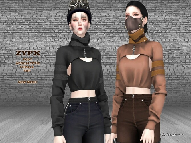 Sims 4 ZYPX Post Apocalyptic Top by Helsoseira at TSR