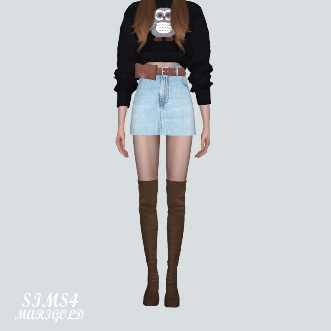 Sims 4 Mini Skirt With Waist Bag Belt H V at Marigold