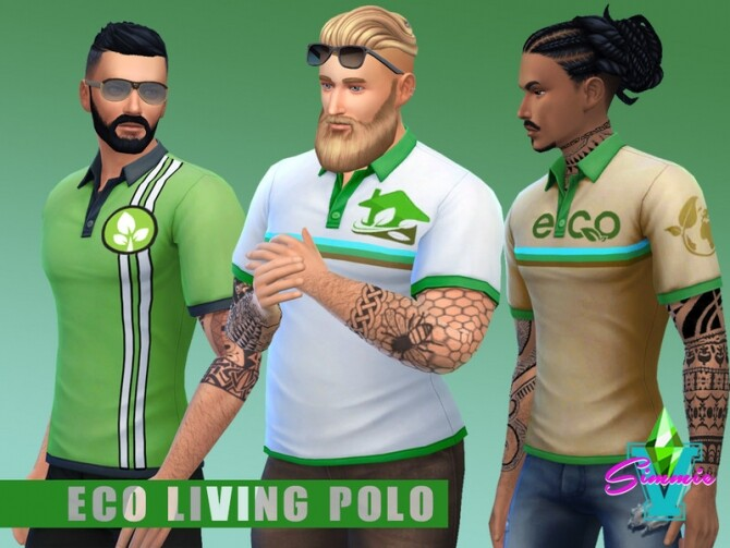 Sims 4 Eco Living Polos by SimmieV at TSR