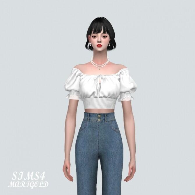 Sims 4 Summer Blouse Off Shoulder V at Marigold