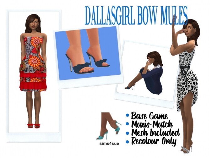 Sims 4 DALLASGIRL'S BOW MULES at Sims4Sue